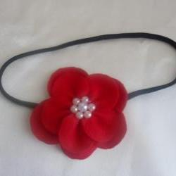 big red felt flower hair pin accessoriesblack elastic hair accessory